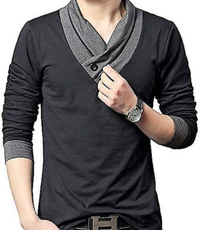 Men's Black Cotton Self Pattern V Neck Tees