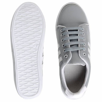Women's Grey Lace-up Comfortable Casual Shoes