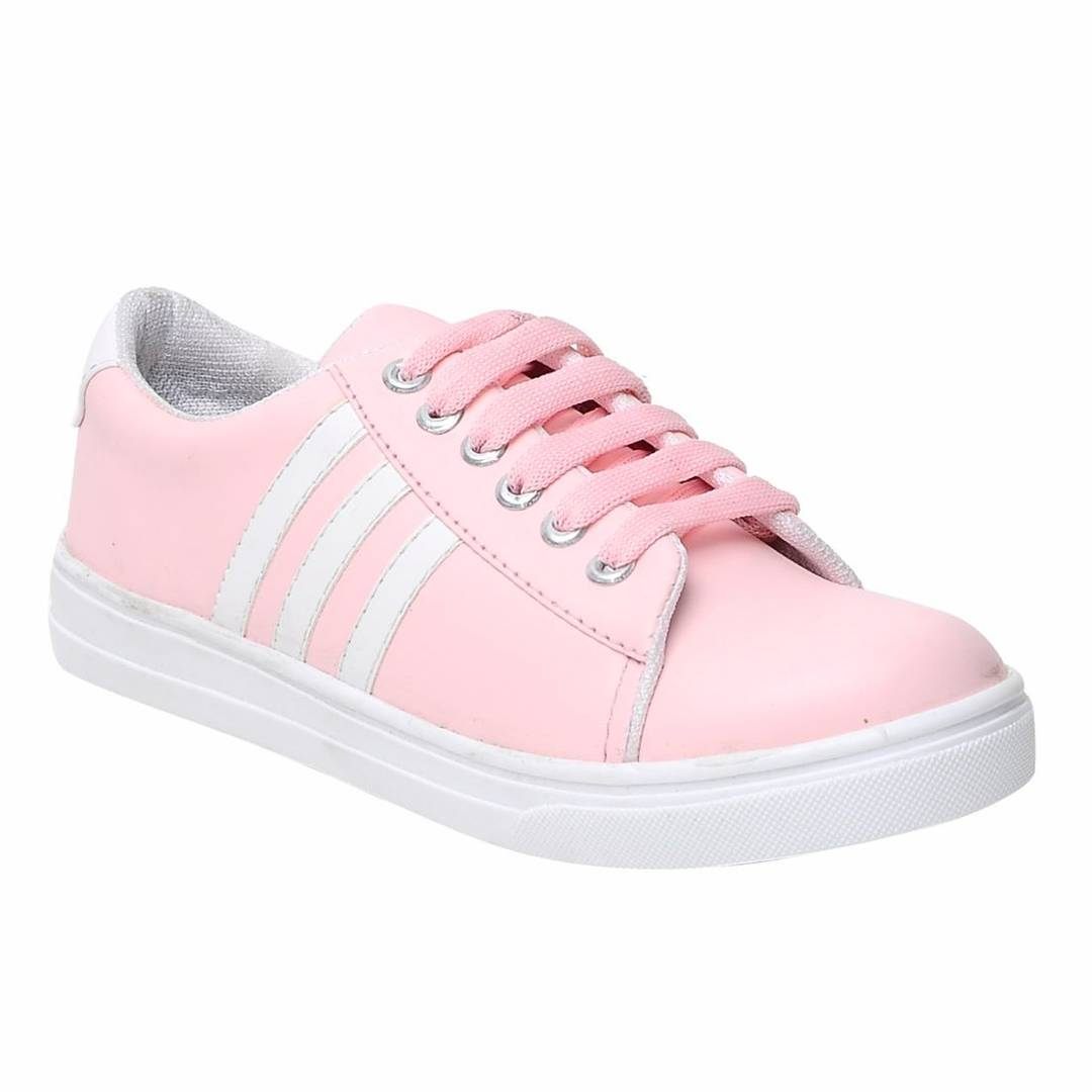 Women's Pink Lace-up Comfortable Casual Shoes