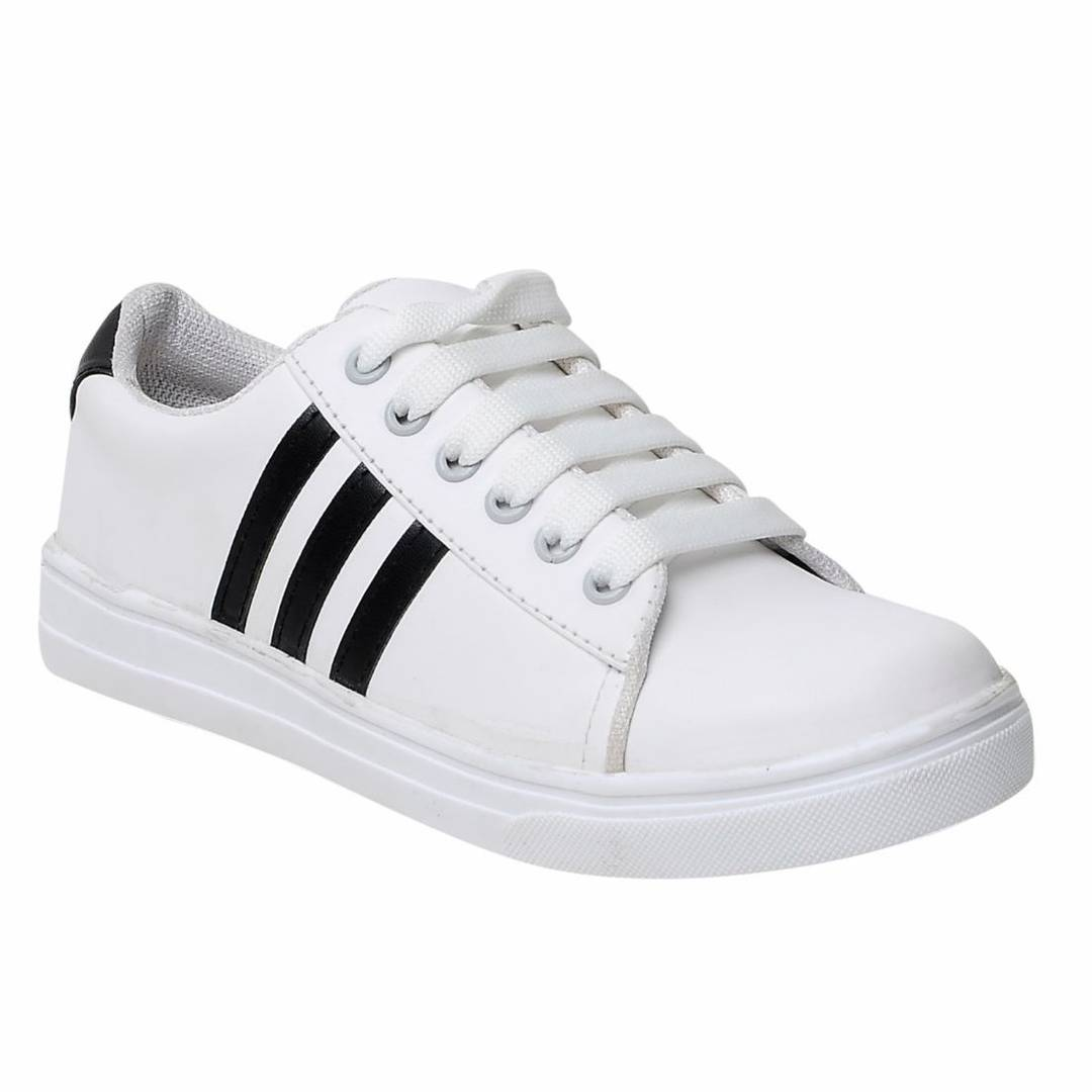 Women's White Lace-up Comfortable Casual Sneakers