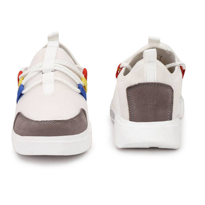 High Fashion Men's White Synthetic Suede Sports Sneakers