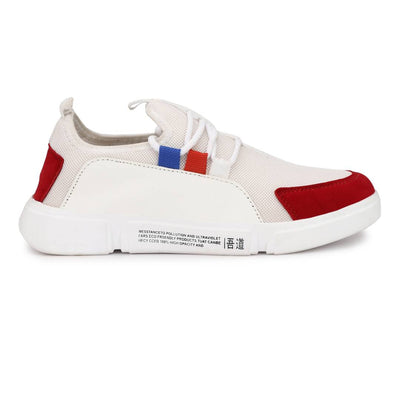 High Fashion Men's White Red Synthetic Suede Sports Sneakers
