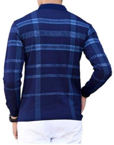 Men's Blue Cotton Checked Polos T-Shirts