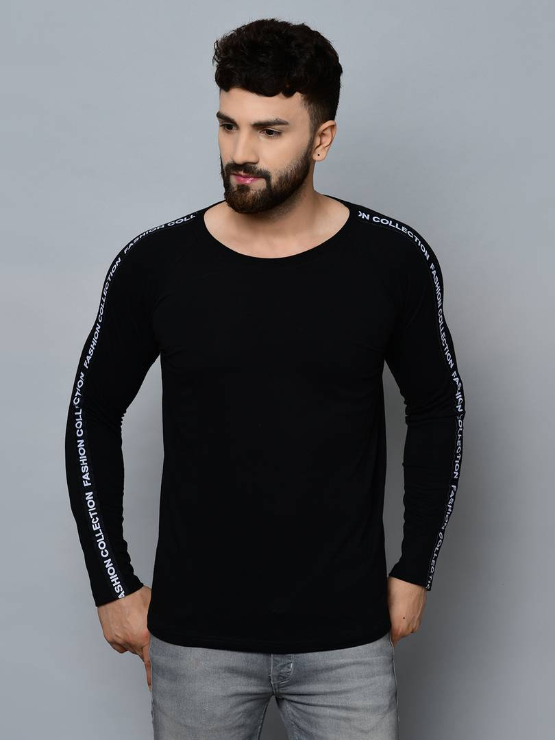 Men's Black Cotton Self Pattern Round Neck Tees