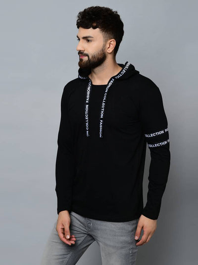 Men's Black Cotton Self Pattern Hooded Tees