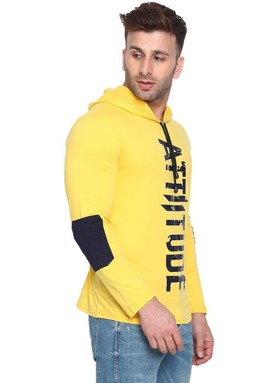 Men's Yellow Cotton Printed Hooded Tees