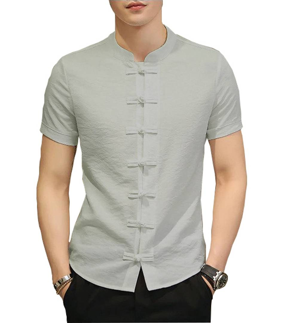 Men's Grey Cotton Solid Short Sleeves Slim Fit Casual Shirt