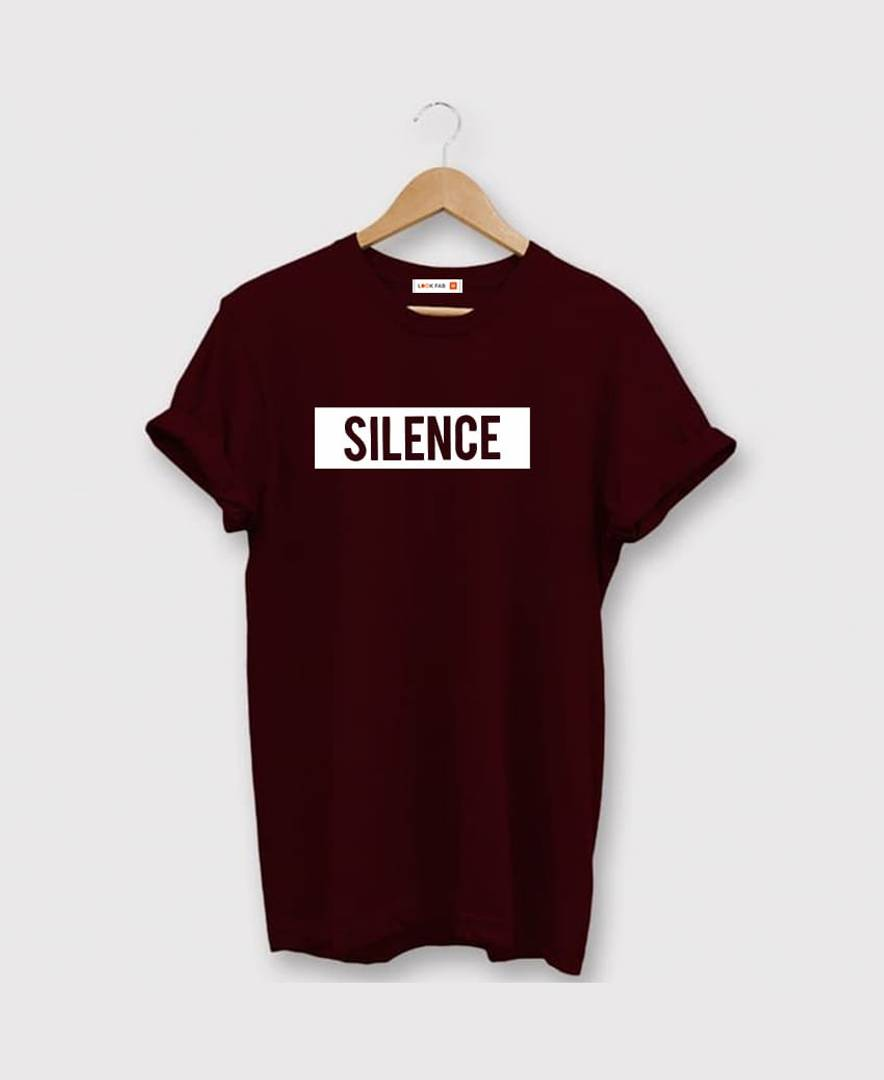 Maroon Printed Cotton Round Neck T-Shirt