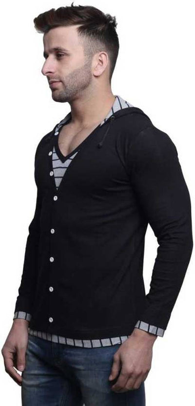 Men's Black Cotton Solid Hooded Tees