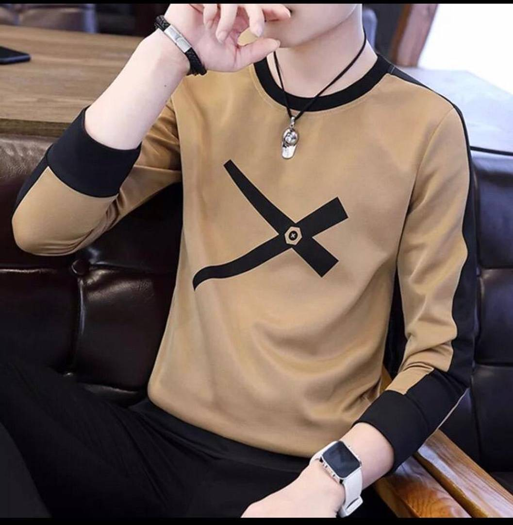 Men's Brown Cotton Printed Round Neck Tees