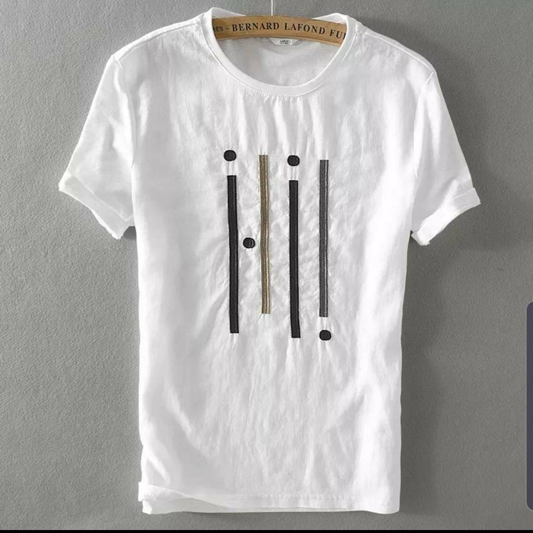 Men's White Cotton Printed Round Neck Tees