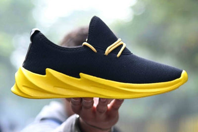 Ultra Lite Genuine Quality Men's Black Yellow Breathable Sports Sneaker