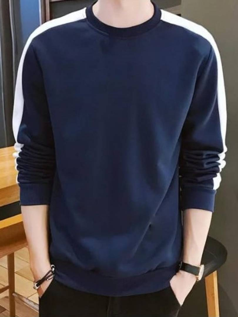 Men's Navy Blue Cotton Self Pattern Round Neck Tees