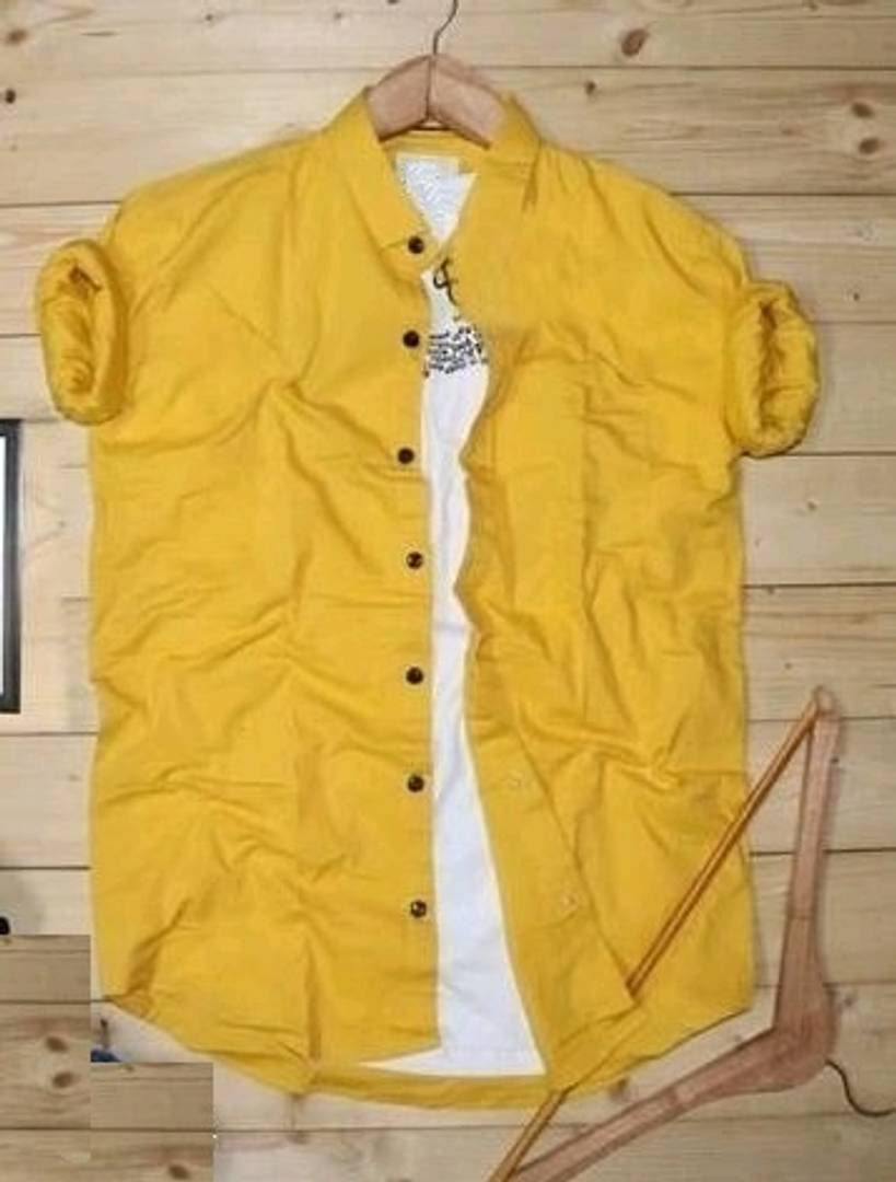 Men's Yellow Cotton Solid Long Sleeves Regular Fit Casual Shirt