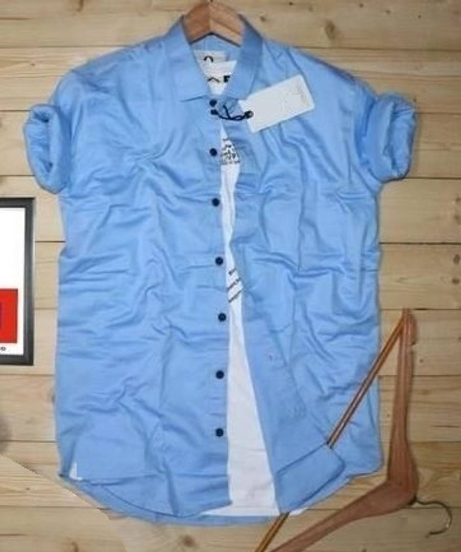 Men's Blue Cotton Solid Long Sleeves Regular Fit Casual Shirt