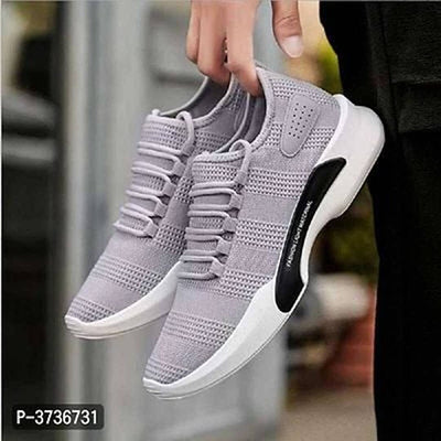 Men's Stylish Grey Synthetic Solid Sports Sneaker