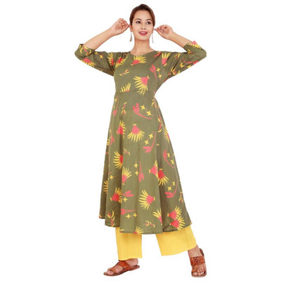 Rayon Dark Green Printed Kurta Plazo Set for Women