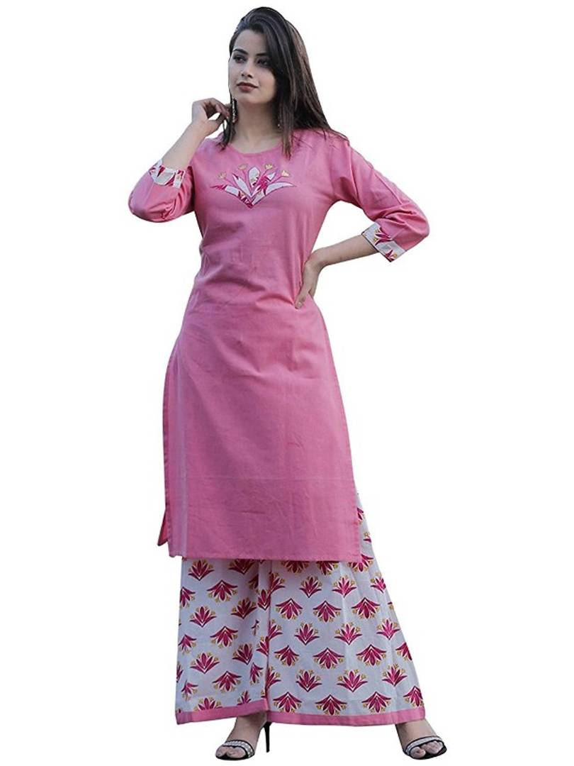 Cotton Pink Embroidery Kurta Plazo Set for Women