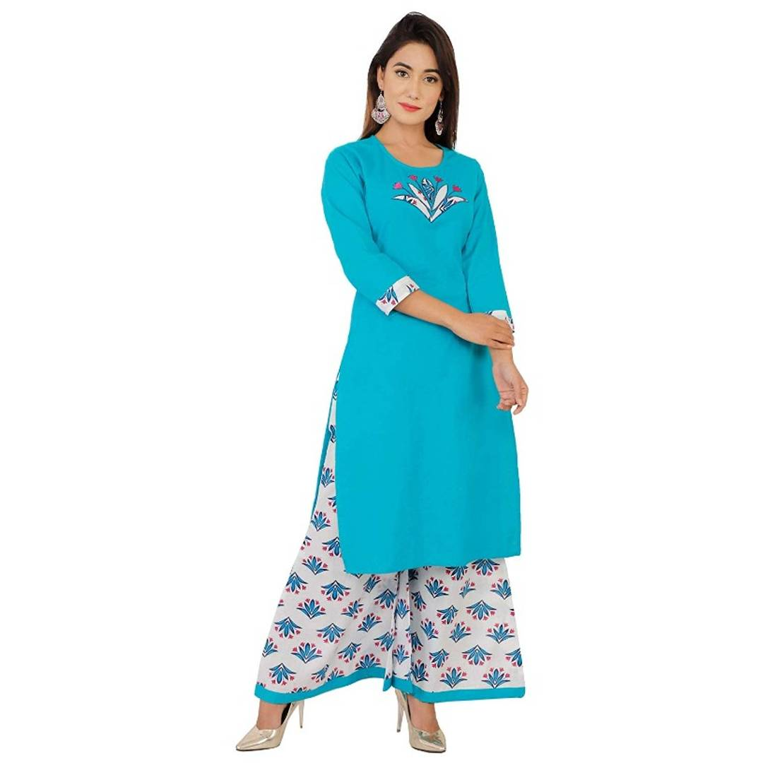 COTTON TURQUOISE EMBROIDERY KURTAPLAZO SET FOR WOMEN