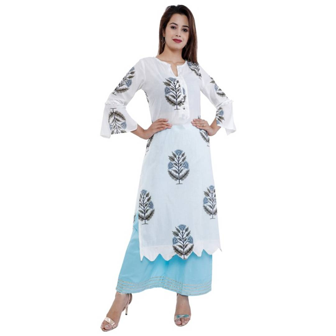 COTTON WHITE FLORAL PRINTED KURTA PLAZO SET FOR WOMEN
