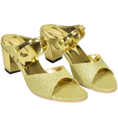 Women's Golden Synthetic Solid Fashion Heels
