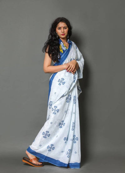 Beautiful  Blue Soft Mulmul Cotton Printed Saree with Blouse Piece