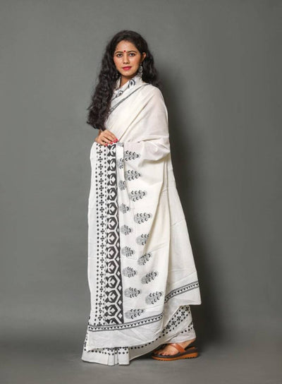 Beautiful Soft Mulmul Cotton Printed Saree with Blouse Piece
