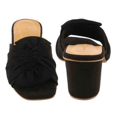 Trendy Black Synthetic Suede Bow Block Heel Mule