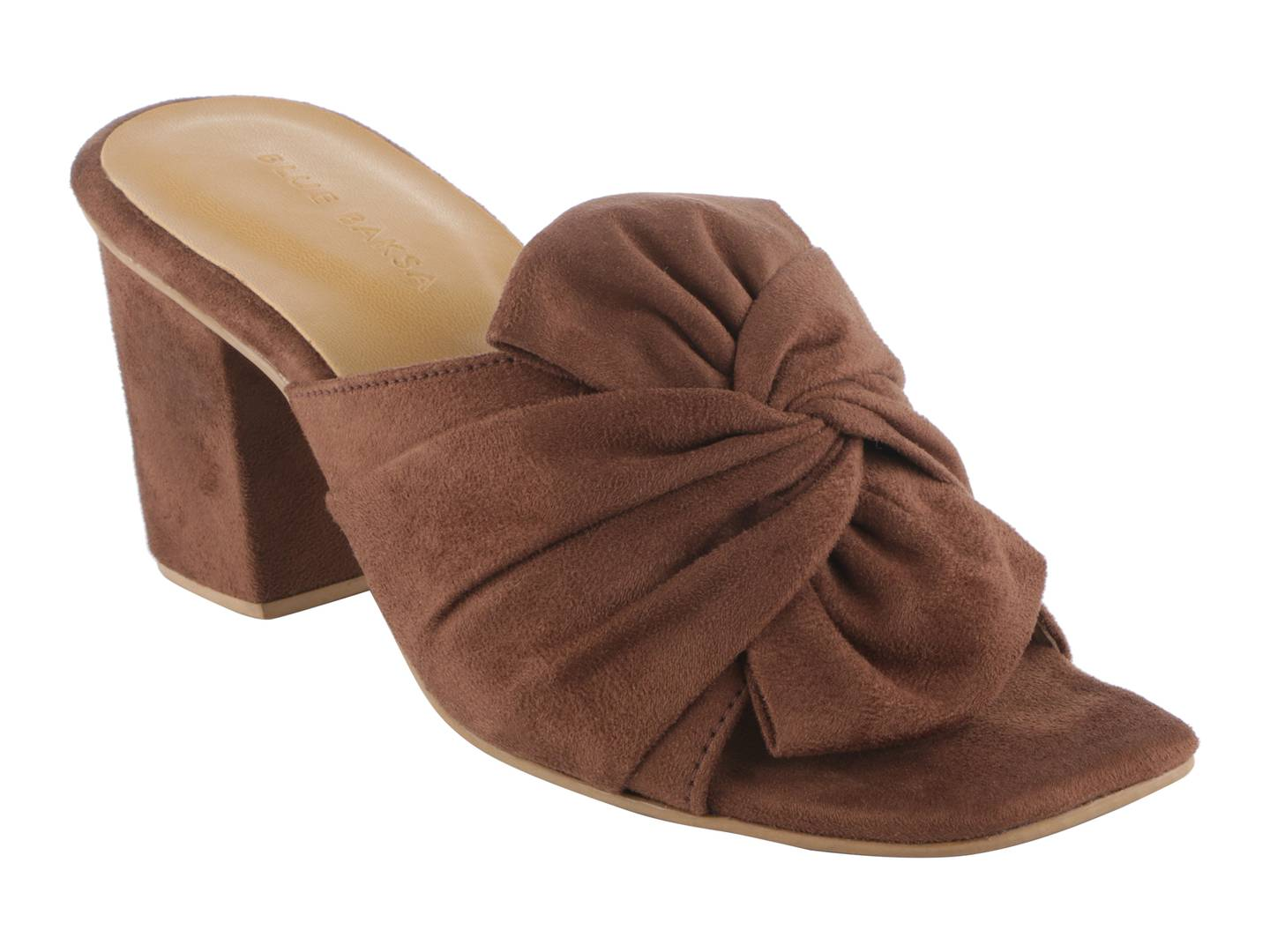 Trendy Brown Synthetic Suede Bow Block Heel Mule
