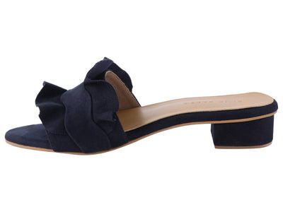 Trendy Navy Blue Synthetic Suede Ruffle Block Heel Mule