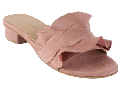 Trendy Peach Synthetic Suede Ruffle Block Heel Mule