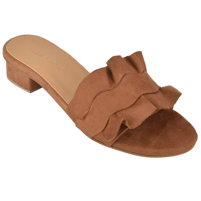 Trendy Tan Synthetic Suede Ruffle Block Heel Mule