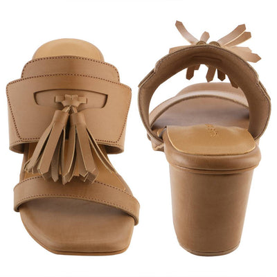 Trendy Beige Synthetic Leather Tassel Block Heel Mule