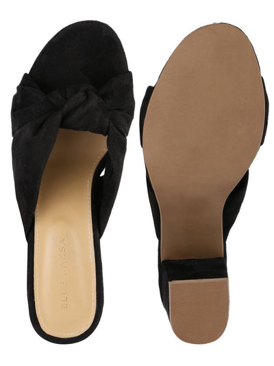 Trendy Black Synthetic Suede Knot Block Heel Mule