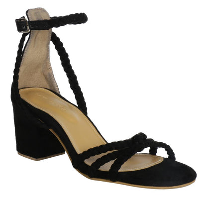 Trendy Black Synthetic Suede Braided Block Heel