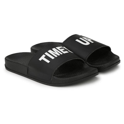 Stylish Fancy Black Time's Up Printed Women Indoor Outdoor Flat Slippers Sliders Flip Flops Girls Slides