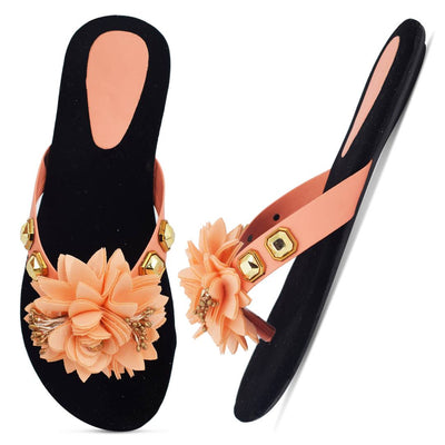 Elegant Peach Solid Synthetic Slippers For Women