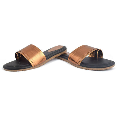 Elegant Copper Solid Synthetic Slippers For Women