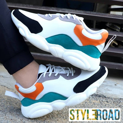 Comfy Multicoloured Synthetic Sports Shoe For Men