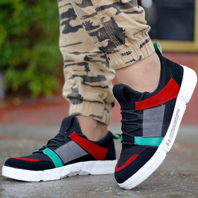 Men Multicoloured Self Design Mesh Sneaker Shoes