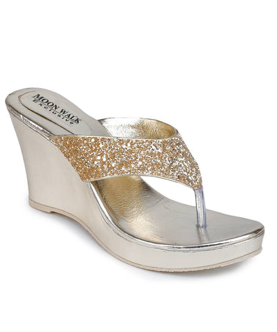 Stylish Synthetic Golden Embellished Heeled Sandal For Women