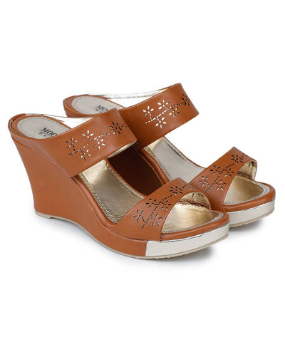 Stylish Synthetic Brown Self Design Heeled Sandal For Women