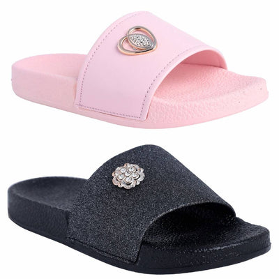 Stylish Rubber Flip-Flops For Women ( Pack Of 2 )
