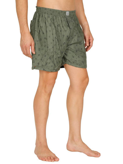 Stylish Olive Printed Boxer For Men