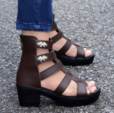 Stylish Faux Leather Heels For Women