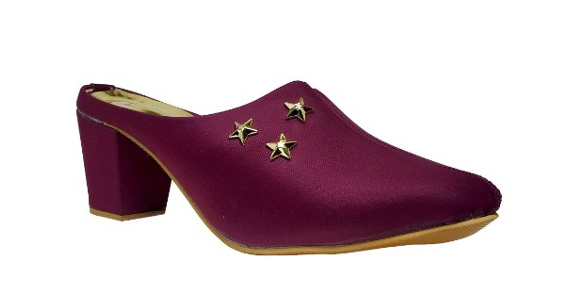 Stylish Synthetic Leather Maroon Heeled Mules For Women