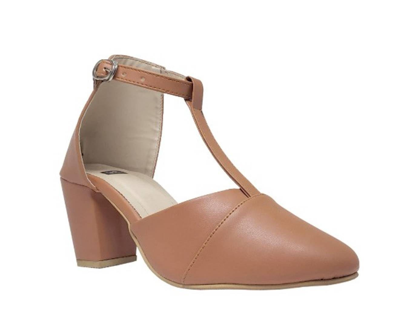 Stylish Synthetic Leather Tan Heeled Sandal For Women