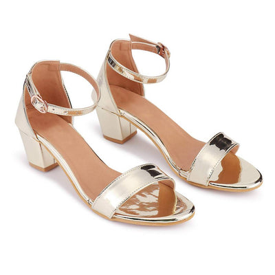 Elegant Synthetic Golden Block Ankle Heel Sandal (2 Inch)