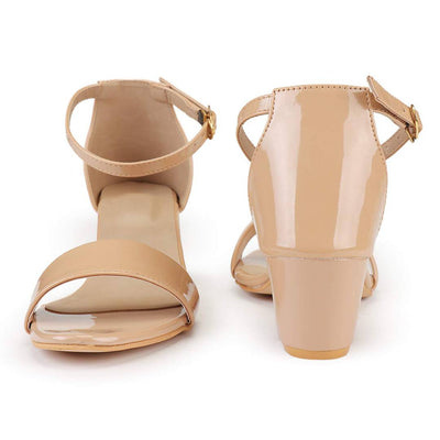 Elegant Synthetic Beige Block Ankle Heel Sandal (2 Inch)
