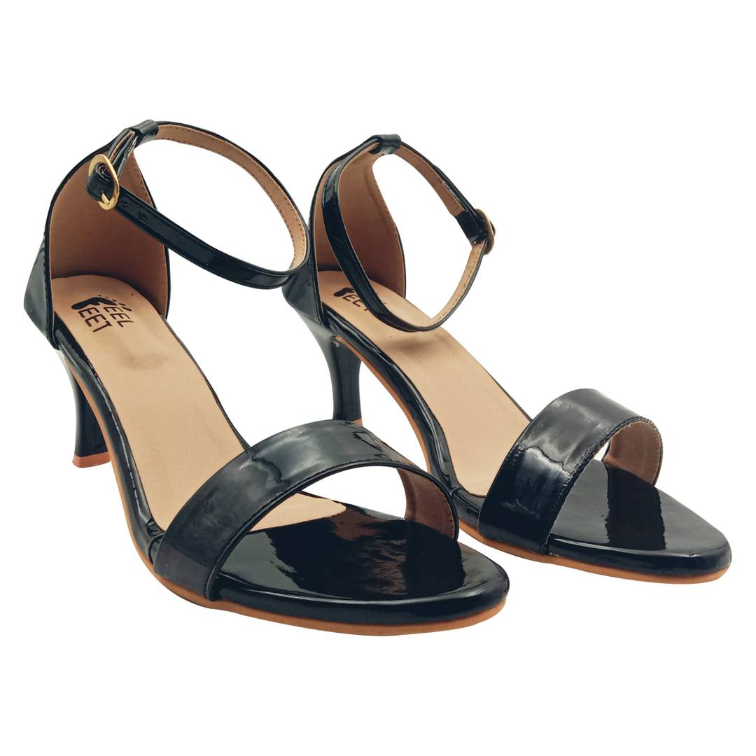 Elegant Synthetic Black Ankle Pencil Heel Sandal (3 Inch)